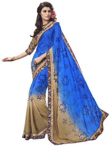 Blue and beige saree with print and heavy border