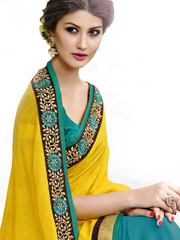 Saree Yellow , Turquoise,Self Jacquard
