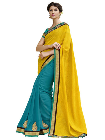 Yellow and cyan color saree with designer border