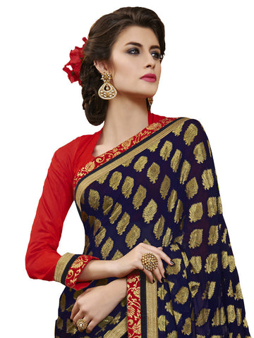Saree Navy Blue , Red,Viscose Jacquard