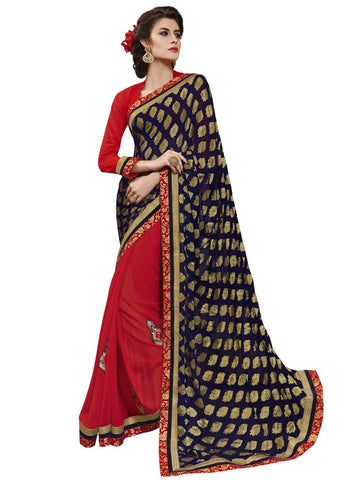 Navy Blue and red jacquard and viscose saree