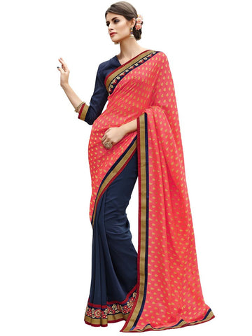 Pink and blue jacquard and georgette saree