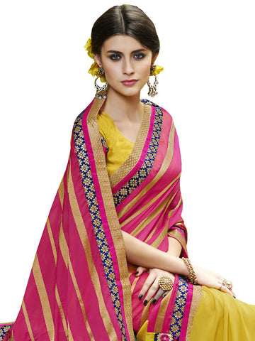 Saree Pink , Yellow,Jari Jacquard