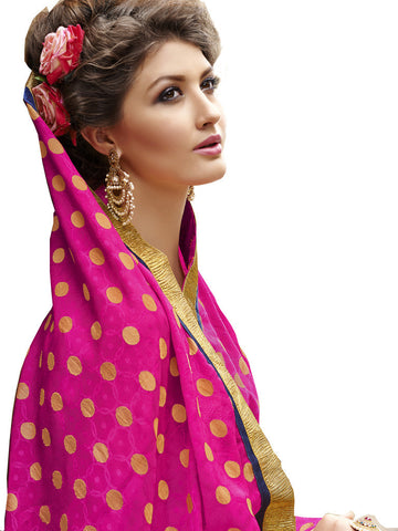 Saree Pink , Yellow,Viscose Jacquard