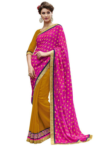 Pink and yellow georgette jacquard half half saree