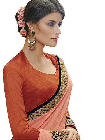 Saree Orange , Navy Blue,Satin Chiffon