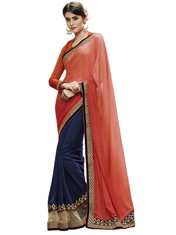 Orange and blue saree with raw silk blouse