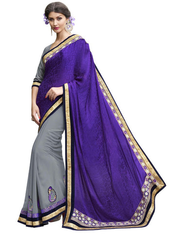 Violet and grey georgette half half designer saree