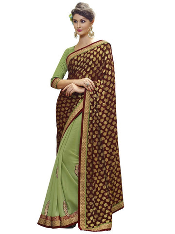 Green and maroon designer saree  for party with in 3200