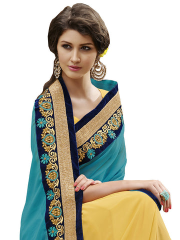 Saree Turquoise , Yellow,Georgette