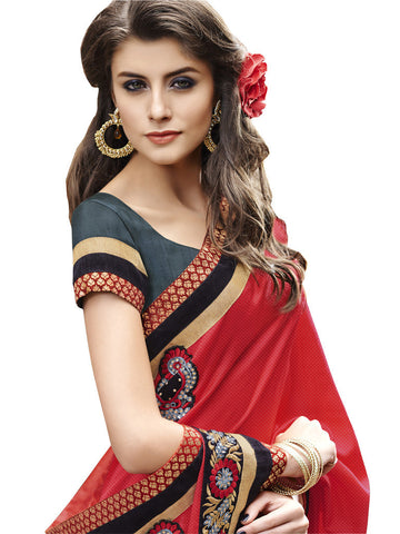Saree Red , Grey,Self Jacquard