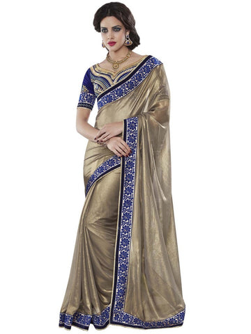 Georgette light brown heavy border party wear saree