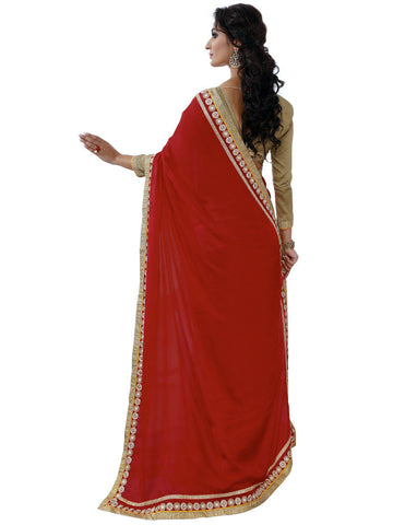 Red and beige saree