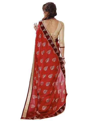 Maroon and beige chiffon saree with golden blouse