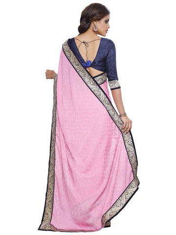 Pink satin blue color saree with mota border