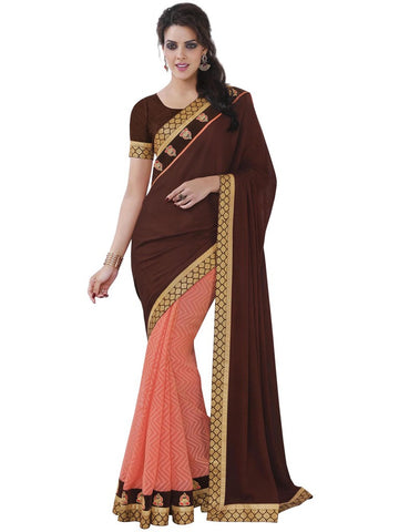 Saree Maroon , light Pink,Satin