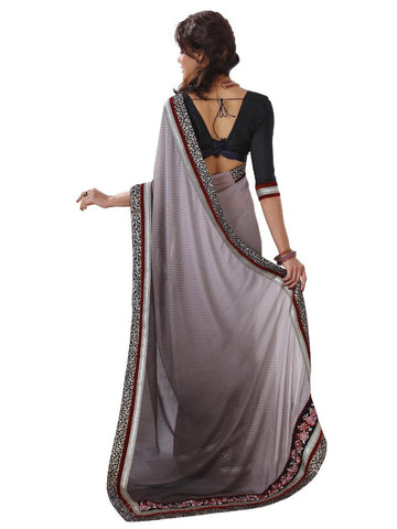 Charcoal black color saree