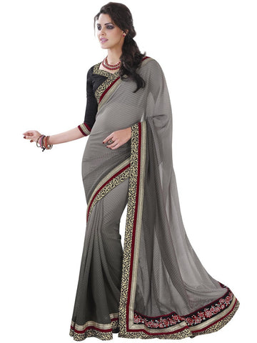Saree Charcoal,Jacquard