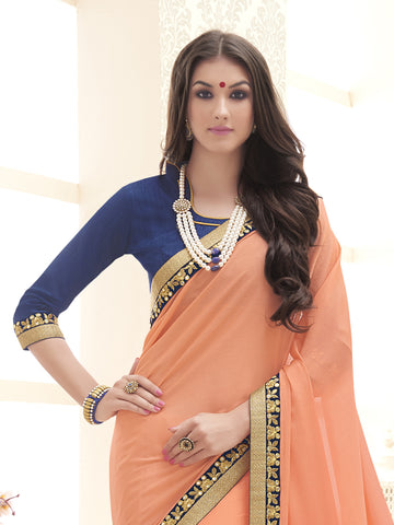 Orange,Chinnon,Designer party wear saree