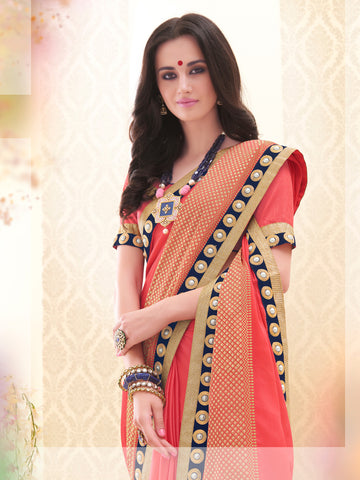 Orange,Satin Chiffon,Designer party wear saree