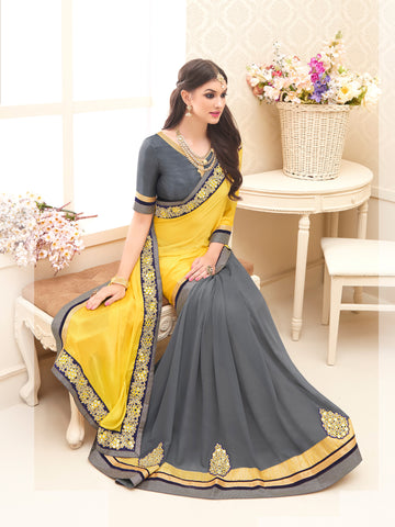 Yellow and Grey,Chinnon,Designer party wear saree