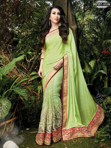 Green,Net,Designer wedding saree with heavy embroidery work