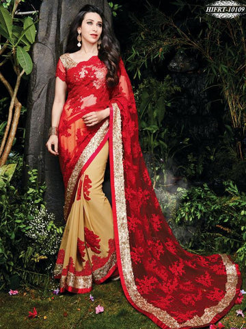 Red , Beige,Net,Designer wedding saree with heavy embroidery work