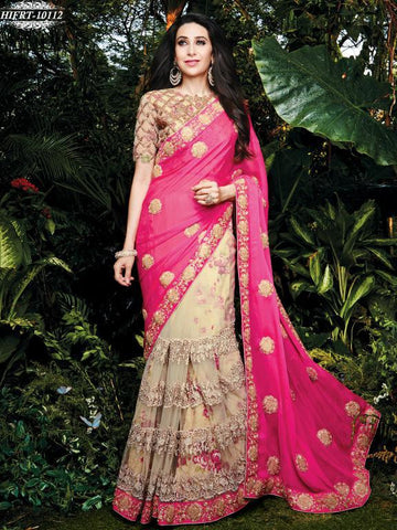 Pink , Beige,Net,Designer wedding saree with heavy embroidery work