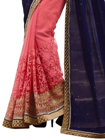 Blue , Pink,Chiffon , Net,Designer party wear saree