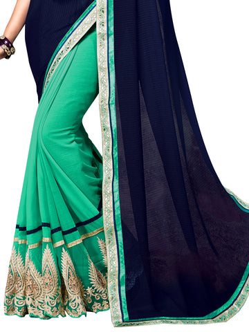 Blue , Green,Chiffon,Designer party wear saree