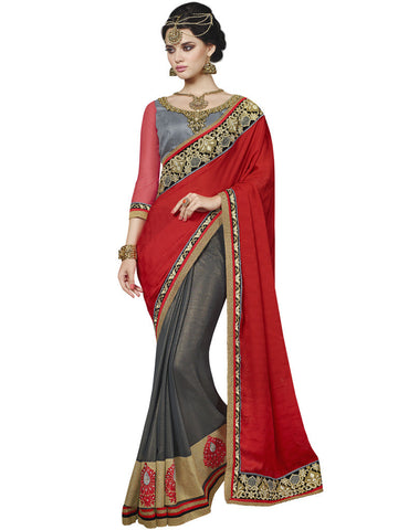 Saree Red , Grey,Satin Jacquard