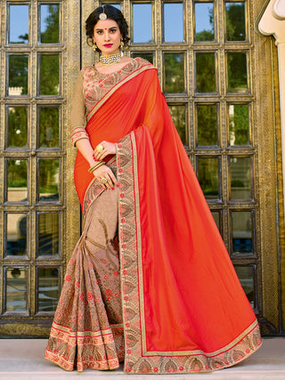 Orange Beige Two Tone Satin Silk Heavy Border Saree AlongWith Golden Silk Blouse