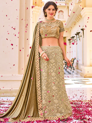Bridal Gold Color Two Lehenga Style Embroidered Saree With Gold Silk Blouse