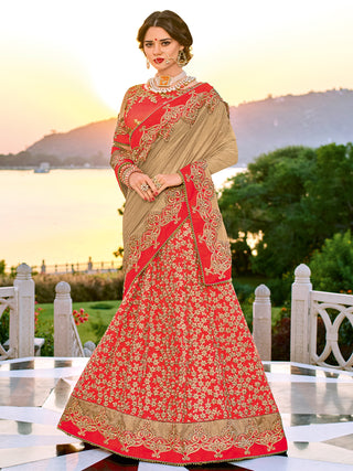Bridal Beige Orange Heavy Bordered Embroidered Lehenga Style Saree With Maroon Blouse