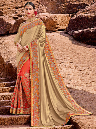 Golden & Orange Two Tone Silk With Golden Blouse