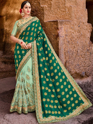Green Party Wear Saree With Golden Blouse