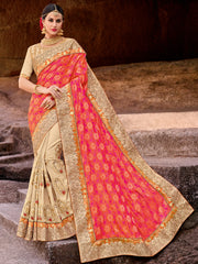 Orange & Pink Saree With Golden Blouse