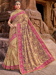 Beige Designer Saree With Golden Blouse