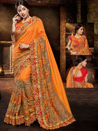 Two Tone Net Jacquard Embroidered Orange Silk Saree With Backless Red Blouse