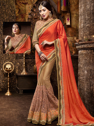 Red and Copper Brown Satin Net Saree With Beige Silk Blouse