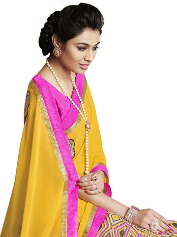 Yellow and pink saree with embroidery at base