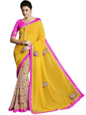 Saree Yellow,Georgette Print