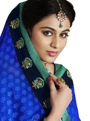 Saree with hues of blue, green and white