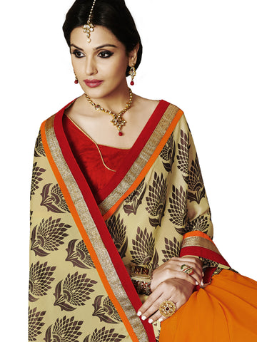 Red satin printed georgette half and half designer saree