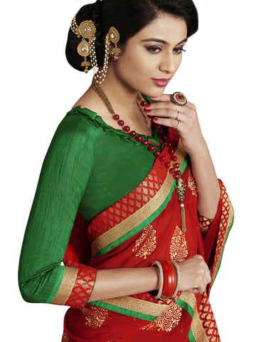 Green georgette party wear saree with red leheria print pallu