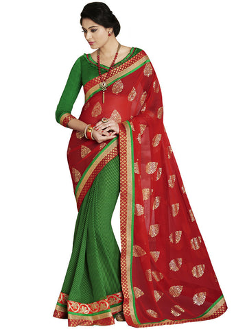 Saree Red , Green,Georgette Print