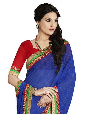 Multicolored printed georgette half and half designer saree