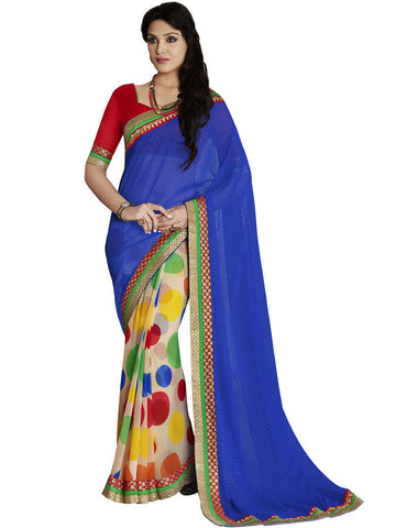 Saree Blue,Georgette Print
