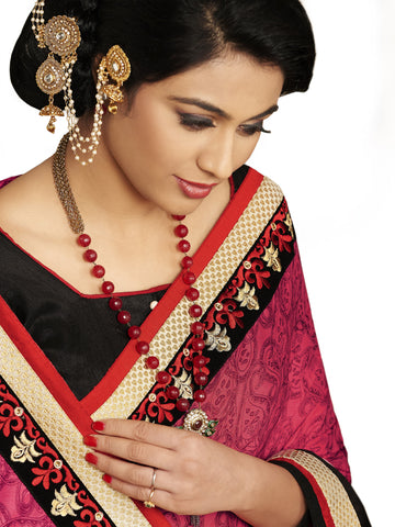 Black and pink saree with raw silk blouse