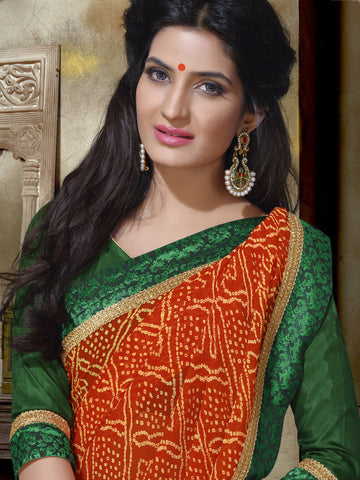 Saree Orange , Green,Chiffon Print